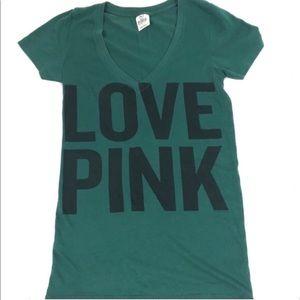 "Victoria's Secret Pink Green ""Love Pink"" T-shirt"